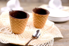 Cup wafer chocolate Royalty Free Stock Image
