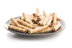 Sweet chocolate waffle rolls. Stock Image