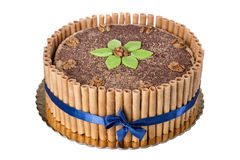 Sweet chocolate walnut cake. On anniversary of birthday. Stock Photos