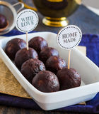 Sweet chocolates truffles, hand made, dessert Stock Photos