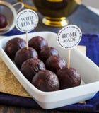 Sweet chocolates truffles, hand made, dessert Stock Photos