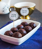 Sweet chocolates truffles, hand made, dessert Stock Image