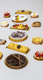 Sweet choice. Overhead shot of different sweets, pies and baked specialities Stock Photography