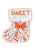 Sweet Chrismas greeting card vector. Sweet Chrismas greeting card. Bow, gingerbread man, candy and sweets in a form of socking. Vector Royalty Free Stock Photography
