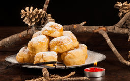 Sweet Christmas. Sonhos, a  traditional Brazilian and Portuguese treat for the Christmas season Stock Photo