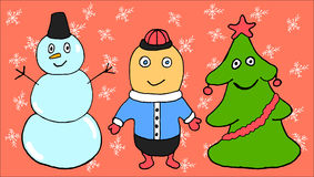 3 sweet Christmas characters. Cartoon characters in the Christmas theme Stock Photo