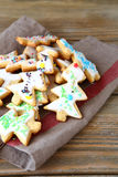 Sweet Christmas cookies on a linen napkin Stock Photo