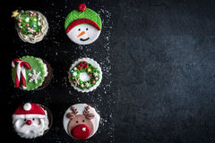 Sweet Christmas cup cakes Stock Photo