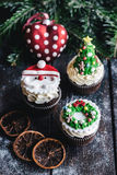 Sweet Christmas cup cakes Royalty Free Stock Images