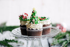 Sweet Christmas cup cakes Stock Image