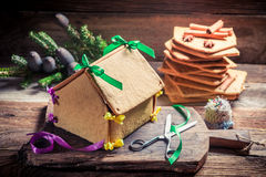 Sweet Christmas gingerbread cottage Stock Images