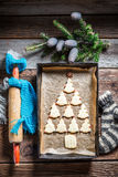 Sweet Christmas tree arranged with cookies Stock Photos