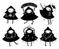 Sweet Christmas Tree Set. Of characters in black and white. Cute holiday illustration Royalty Free Stock Photography