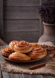 Sweet cinnamon bun rolls christmas scandinavian Stock Photos