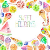 A sweet circle frame of the watercolor confection: ice cream, candy, lollipop, muffins, fruits and other. A place for a text, painted on a white background Stock Photos
