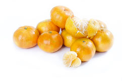 Sweet citrus. Mandarin on white background, sweet variety Royalty Free Stock Photos