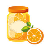 Sweet Citrus Orange Jam Glass Jar Filled With Fruit With Template Label Illustration Royalty Free Stock Photo