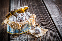 Sweet cocoa balls with powder milk Stock Photography