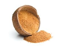 Sweet coconut sugar. Sweet coconut sugar in coconut shell isolated on white background Stock Photo