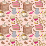Sweet coffee and candies seamless pattern Royalty Free Stock Photos