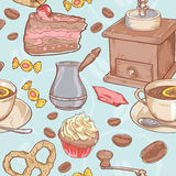Sweet coffee and candies seamless pattern Royalty Free Stock Images
