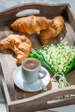 Sweet coffee and croissant Stock Photography