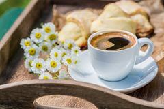Sweet coffee and croissant Stock Images