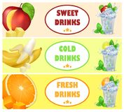 Sweet Cold Fresh Drinks with Tasty Juicy Fruits Stock Photography