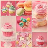 Sweet collage. Collage of photos with pastel colored cupcakes and meringue Stock Photography
