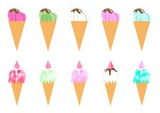 Sweet collection ice cream on isolate white background royalty free stock photo