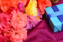Sweet color flowers from mulberry paper whith holiday gift box Royalty Free Stock Image