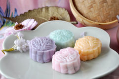 Sweet Color of Snow Skin Mooncake on Plate stock photography