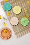 Sweet color of snow skin mooncake. Traditional mid autumn festiv Stock Images