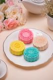 Sweet color of snow skin mooncake. Traditional mid autumn festiv Stock Image