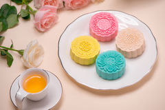 Sweet color of snow skin mooncake. Traditional mid autumn festiv Stock Photos