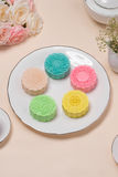 Sweet color of snow skin mooncake. Traditional mid autumn festiv Royalty Free Stock Images