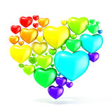 Sweet, colorful, beautiful hearts arranged in shape of big heart Stock Photography