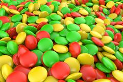 Sweet colorful candy. Candy variation color texture or background. 3D render. royalty free illustration