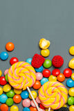 sweet colorful candy and lollipops. Royalty Free Stock Images