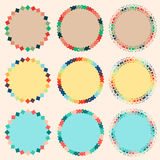 Sweet and colorful circle borders. Three theme of cute decorative and colorful borders stock illustration