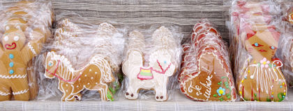 Sweet colorful gingerbread wrapping in cellophane Stock Photo