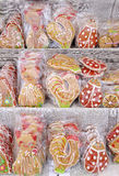 Sweet colorful gingerbread wrapping in cellophane Stock Images