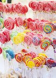 Sweet and colorful lollipops Stock Images