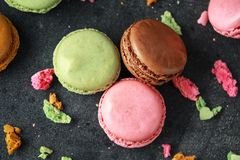 Sweet colorful macarons dessert, almond cake, cookies. selected focus. royalty free stock images