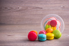 Sweet colorful macaroons Stock Photos