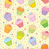 Sweet colorful muffins vector seamless background Royalty Free Stock Photo