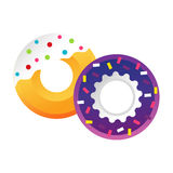 Sweet colorful tasty donut vector isolated illustration. Stock Image