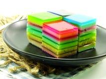 Sweet colorful treat of rainbow layered gelatin dessert Stock Photography