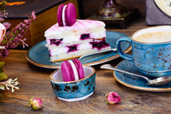 Sweet and Colourful Cake with French Macaroons with Cup of Cofee Stock Image
