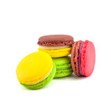 Sweet and colourful french macaroons isolated on white  backgrou Stock Photos